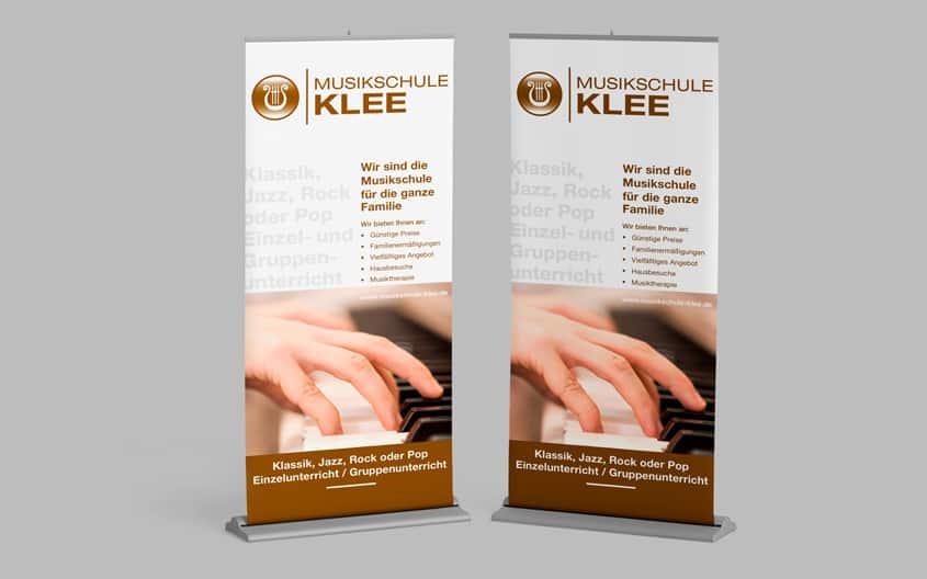 Corporate Design, Logo, Briefbogen, Visitenkarte, RollUp, Webdesign - Musikschule Klee