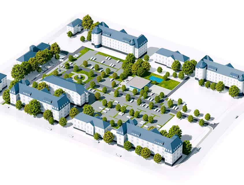 Lamboy Hoefe - Gestaltung von Exposé, Anzeigen, Websites, 3D-Visualisierungen, 3D-Animationen, Bauschilder