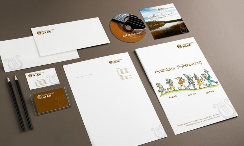 Corporate Design, Logo, Briefbogen, Visitenkarte - Musikschule Klee